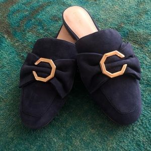 Cole Haan Blue Leela Suede Bow Mules Size 7.5 $100